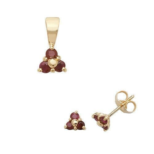 Ruby Pendant and Earrings Set Three Stone Trilogy 9ct Yellow Gold Hallmarked
